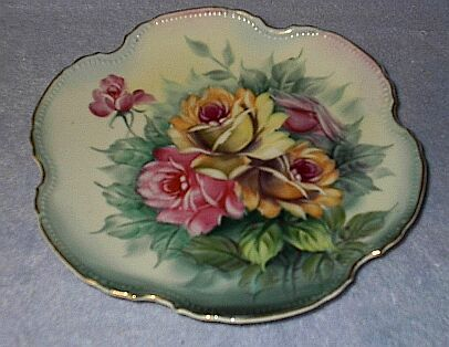 Japan Roses Floral Painted Decorative Plate