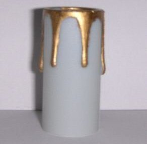 "2"" White w/Gold Drips Plastic Chandelier Socket Cover"