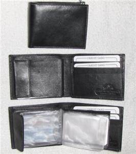 Genuine Leather Men's Bi-Fold Wallet- #576 BLACK