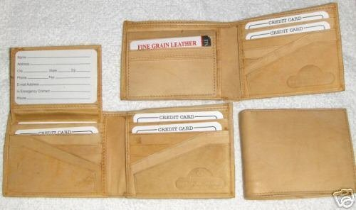Genuine Leather Men's Bi-Fold Wallet- #589 TAN