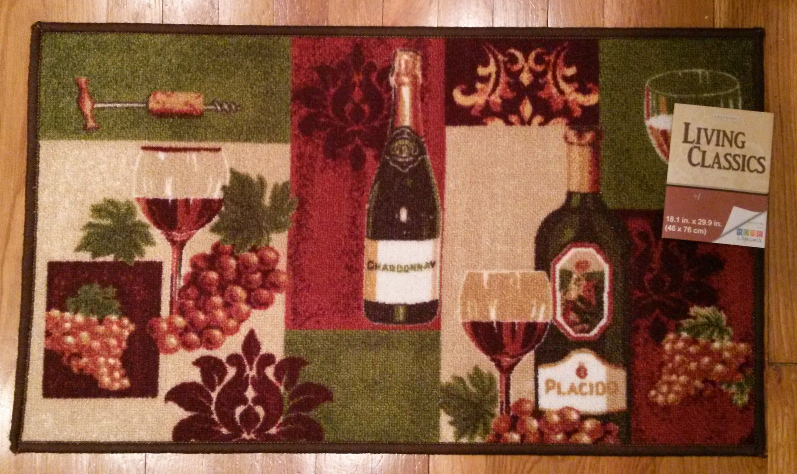 TUSCAN KITCHEN RUG Floor Mat Wine Grapes Green Red 18x30