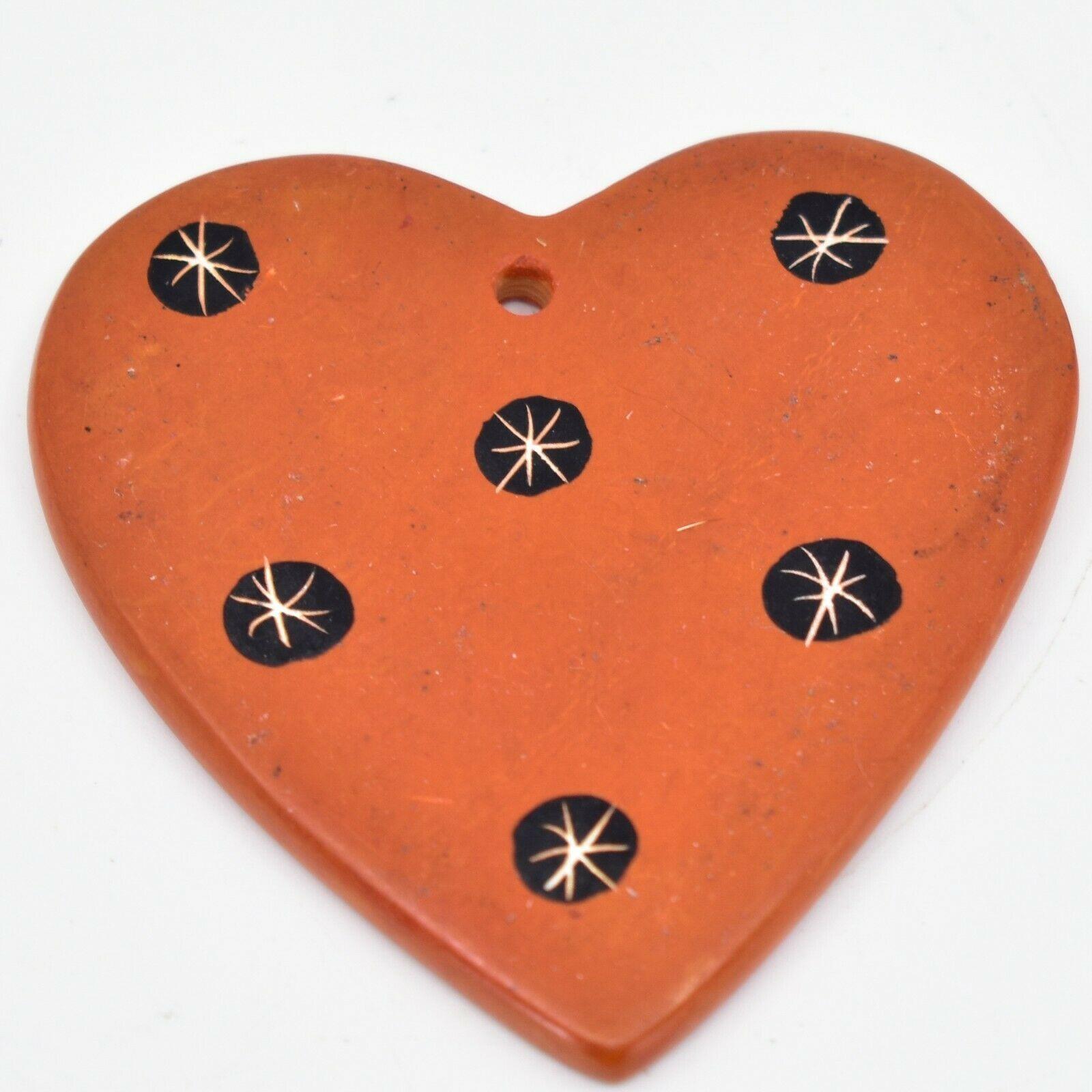 Tabaka Chigware Hand Carved Kisii Soapstone Orange Heart Christmas Tree Ornament