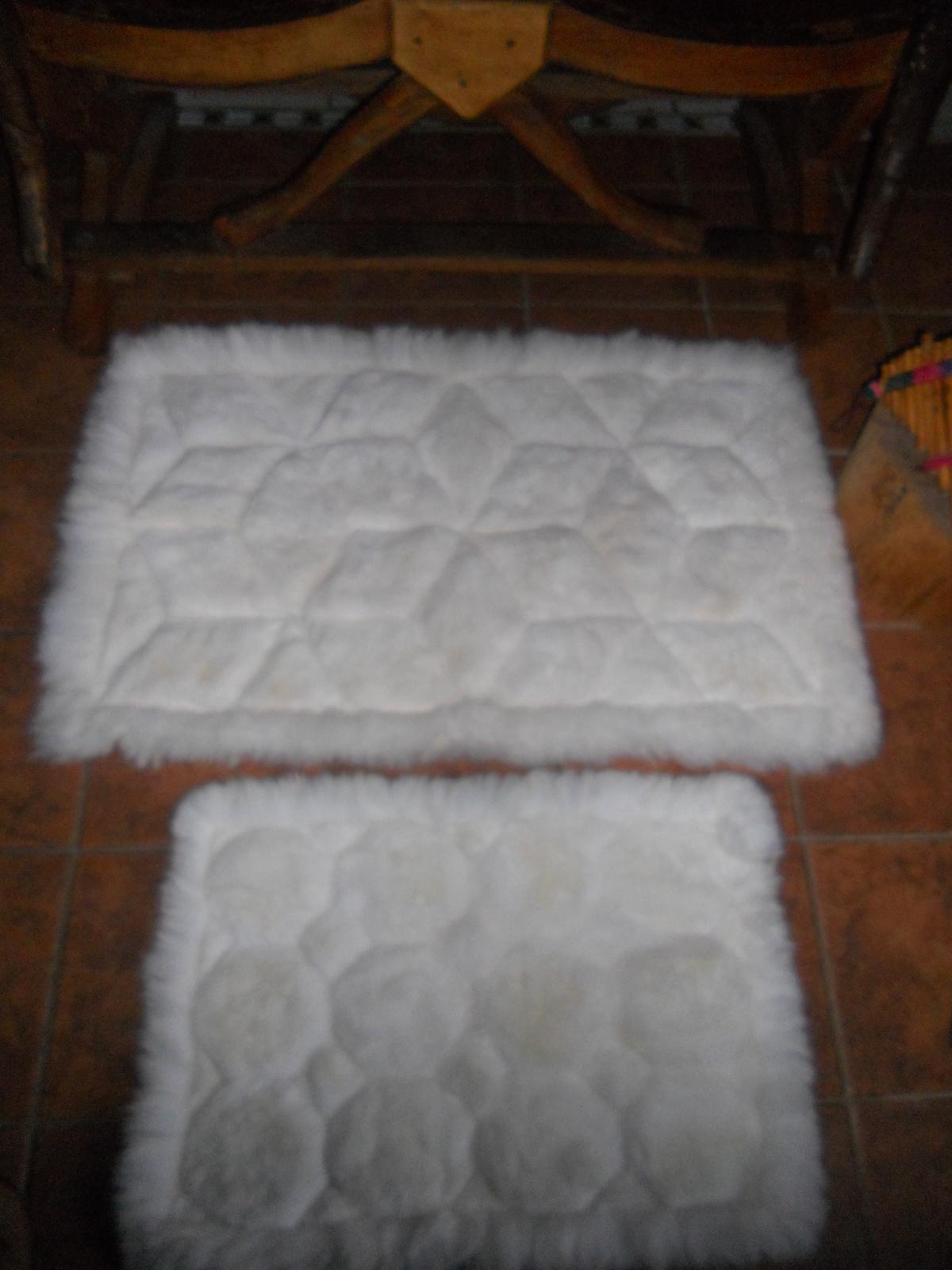 SET of 2  White Alpaca rug , luxurious rug, Pre-columbian style