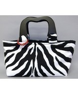 Meredith Zebra Stripe Purse Chic Handbag Animal Print Tote Bag Black White - $90.00