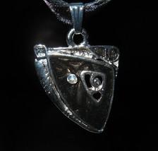 NECKLACE BLACK GEMSTONE RIBBON CORDED #376 - $8.99