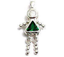 Sterling & CZ Birthstone Kids GIRL Charm MAY