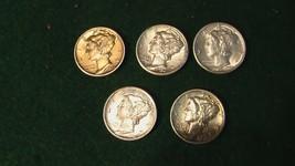 Mercury Dimes - Lot of 5, 41d-41d-43s-35p-36p all AU plus or better - $29.70