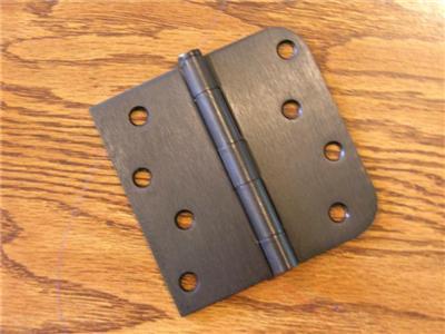 """4"""" Oil Rubbed Bronze Door Hinge Square x 5/8"""" Rad US10B"""