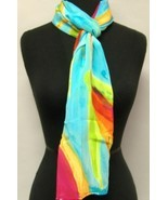Hand Painted Silk Scarf Blue Oblong Womens Wrap... - $85.00