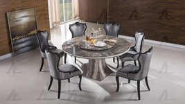American Eagle Furniture DT-H36 Black Marble Top Round Dining Table Set 7 Pcs