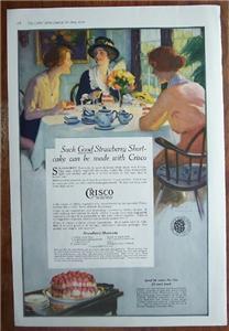 1919 Crisco Shortening Recipes & Color Vintage Ad