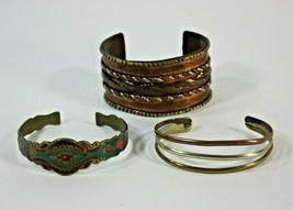 Bracelet Lot Cuff Middle Eastern India Copper Alpaca Boho 60's Vintage H... - $39.55