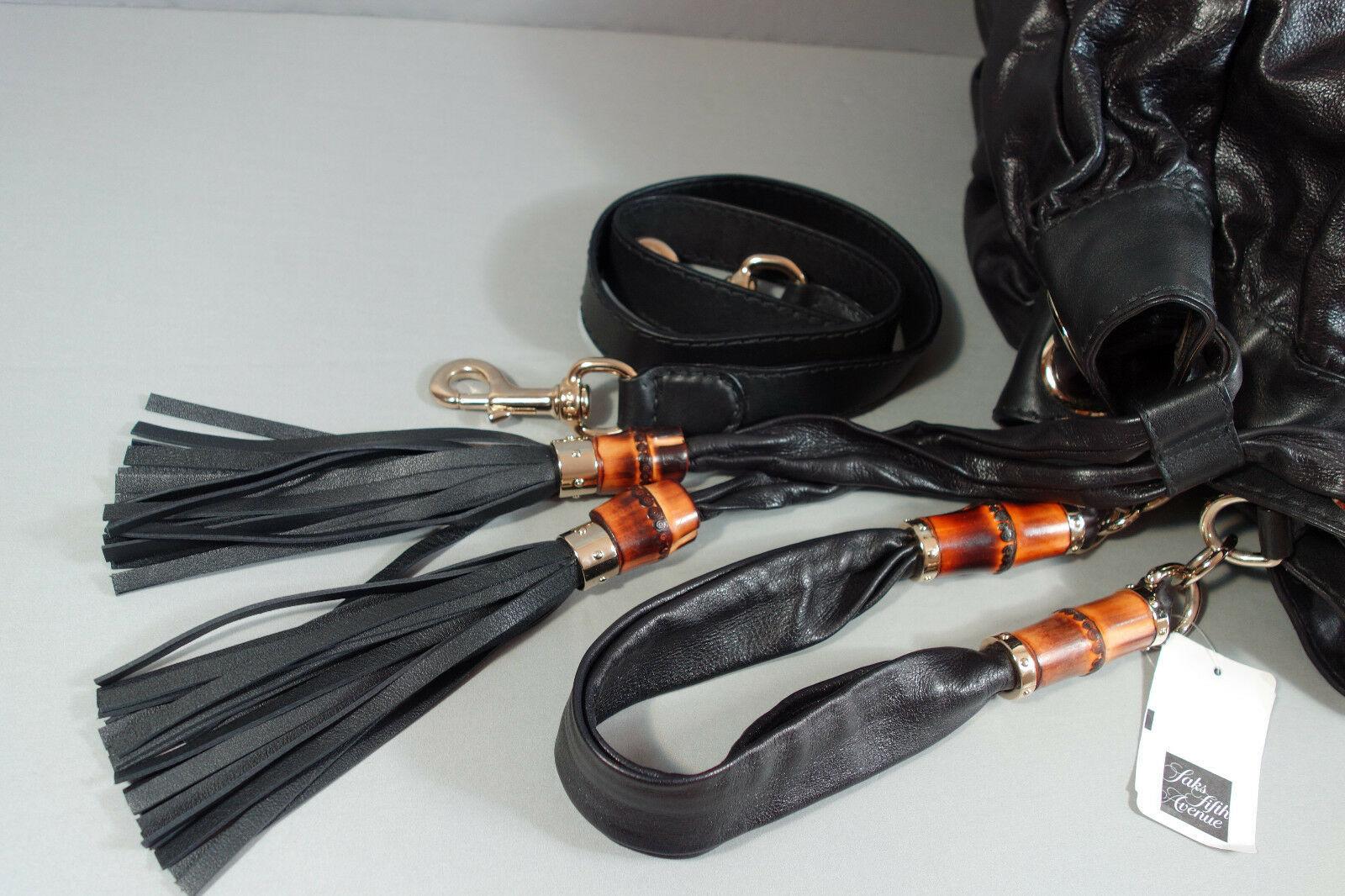 GUCCI Black Leather NEW Shoulder Bucket Bag XL Bamboo Tassels Hobo Tote Handbag