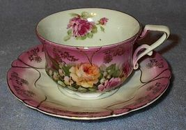 Fancy Pink Lustre Roses Floral Cup and Saucer - $14.95