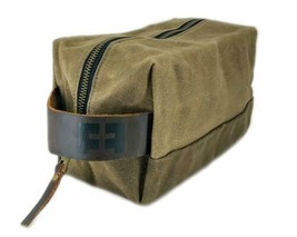 DOPP KIT Durable Waxed Cotton Canvas Shave Travel Toiletry Bag Leather H... - $24.99