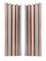 VERTICAL STRIPE PINK GREY BEIGE FULLY LINED ANNEAU TOP CURTAINS 7 SIZES - $26.53+