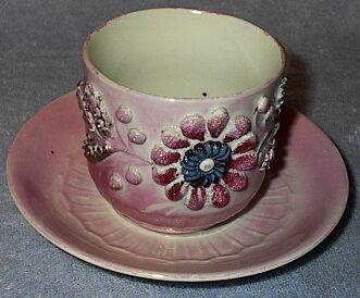 Pink Lustre Raised Embossed Cup and Saucer