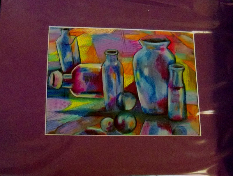 Original Art drawing 16x20 matted color pencil abstract bottles colorful