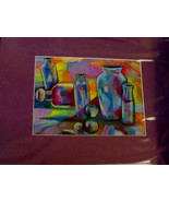 Original Art drawing 16x20 matted color pencil abstract bottles colorful - $35.00