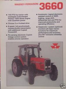 1990 Massey Ferguson 3660 Tractor Specifications Brochure