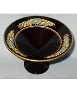 Black Glass Compote with Raised Fruit Decoration - $24.95