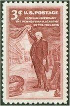 1955 3c Pennsylvania Academy of Fine Arts, Charles Peale Scott 1064 Mint... - $0.99