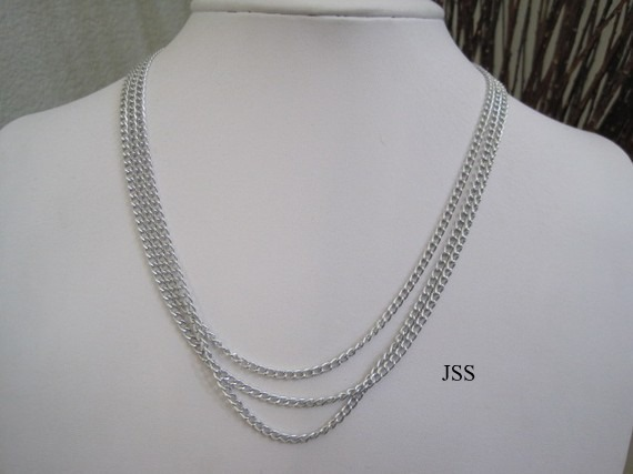 Silver three strand tiered necklace 1