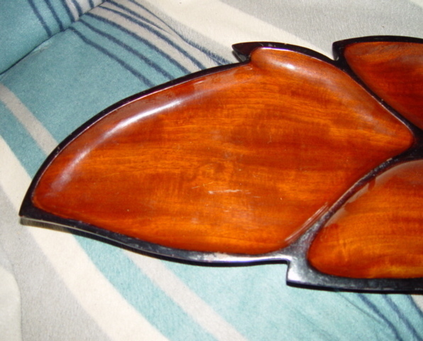 Haiti Wood Leaf Serving Tray With 3 Section
