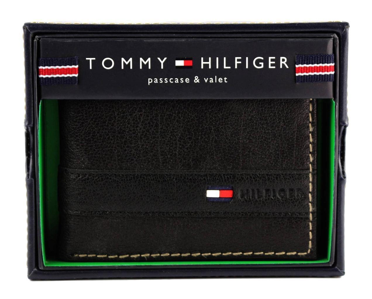 NEW TOMMY HILFIGER MEN'S LEATHER CREDIT CARD ID WALLET BILLFOLD BLACK 4384/01