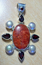 """925 Sterling Silver Red Coral & Garnet & Pearl Pendant 2 1/2"""" - $167.57"""