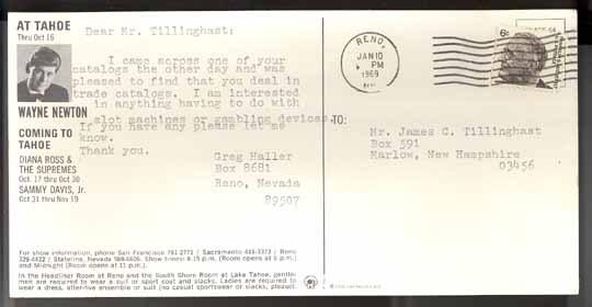Mitzi Gaynor advertizing postcard Reno 1969 Harrah's vintage theater