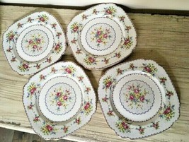 Royal Albert Petit Point 4 Square Dinner Plates Set Needlepoint England ... - $74.79