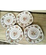 Royal Albert Petit Point 4 Square Dinner Plates Set Needlepoint England ... - $74.79