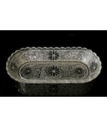 """Vintage Clear Glass Pressed Raised Floral Molded Oval Bowl 10 1/4"""" x 4 5... - $17.30"""