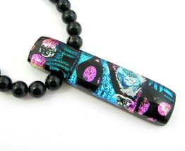 Artisian Black DICHROMATIC GLASS PENDANT Necklace Vintage Bead Blue Gree... - $16.99