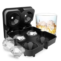 Diamond Shape Ice Cube Maker Mold 4 Party Whisk Ice Ball Tray Silicone B... - $14.86