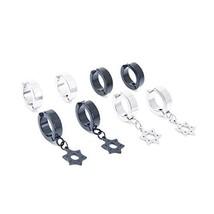 LXBSIYI Non Pierced Clip On Earrings for Men - Stainless Steel Non Pierc... - $6.73