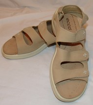 Ecco Light Womens Beige Sandals 4110 Strappy Slingback Shock Point Anti ... - $37.56