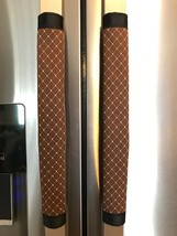 Refrigerator Door Handle Covers Set of Two Brown Lattice Theme 13L X 4.5W - $12.99