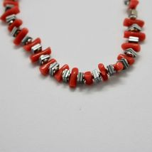 SILVER 925 BRACELET WITH CORAL HEMATITE BPI90-2 MADE IN ITALY BY MASCHIA image 3