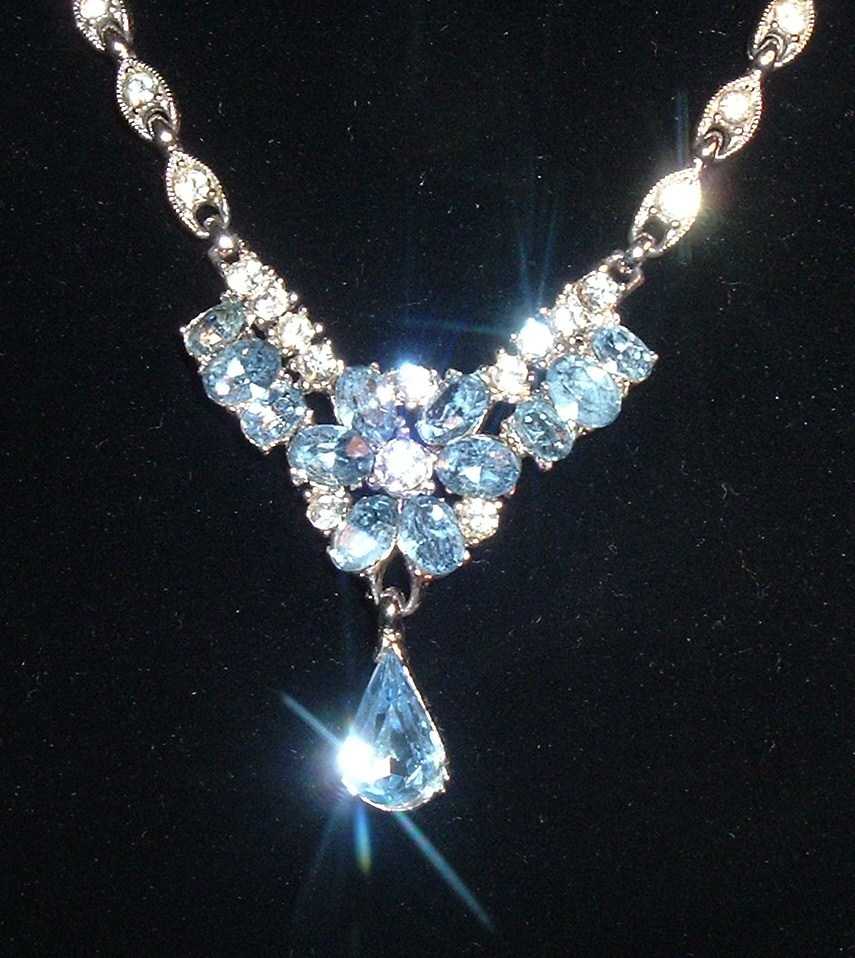 Primary image for Vintage Bogoff Necklace 1950s Ice Blue Radiant Crystal Rhinestone Lavalier