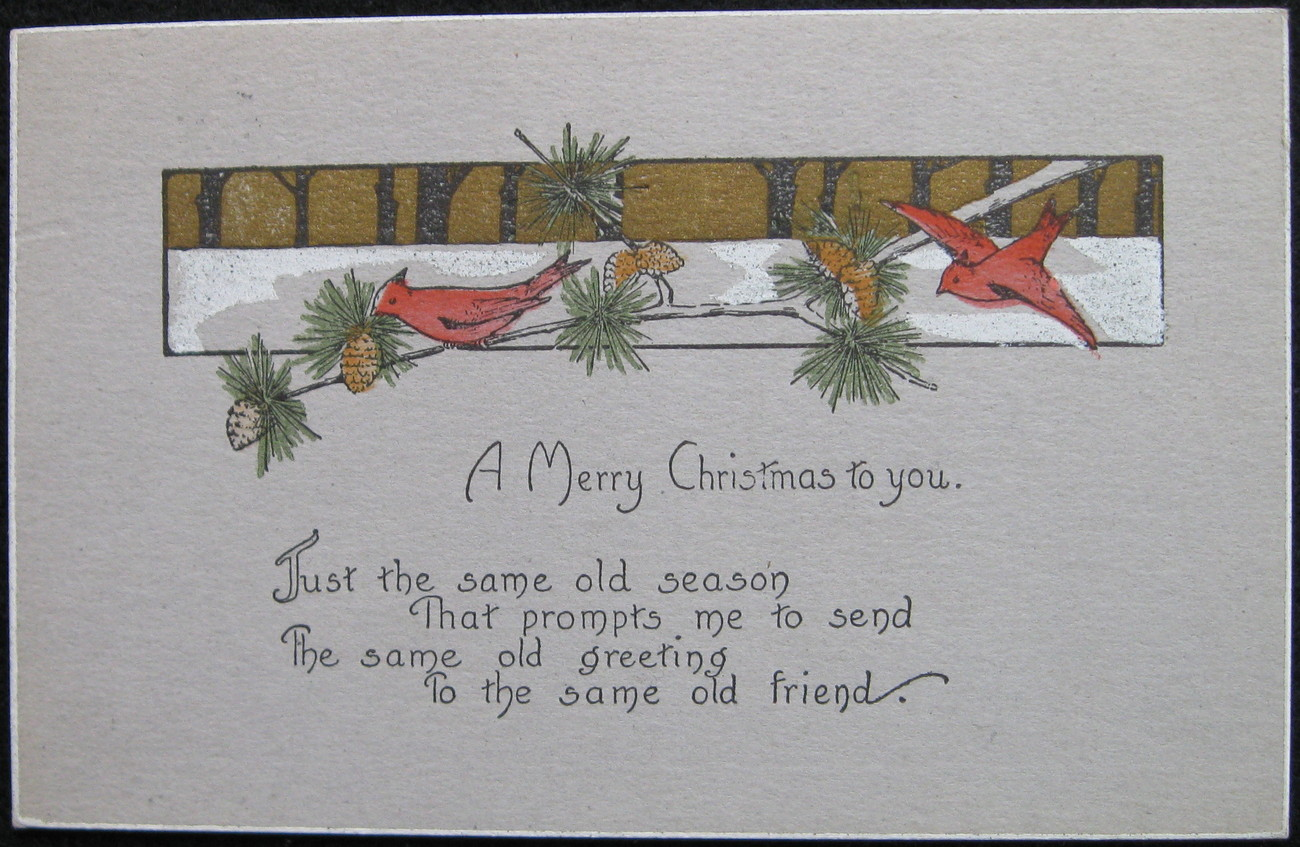 Primary image for Divided-back, Christmas Postcard, A Merry Christmas, Cardinals, Pine Cones, 1919