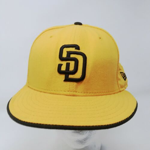 New Era 59Fifty San Diego Padres 7 5/8 Fitted USA Wool Hat Gold & Brown image 3