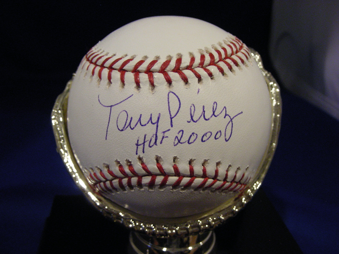 TONY PEREZ HOF 2000 3X WSC CINN REDS SIGNED AUTO BASEBALL MOUNTED MEMORIES & MLB
