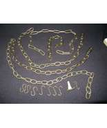 Vintage Decorative Brass Plated Steel Chains and Hooks - $10.00