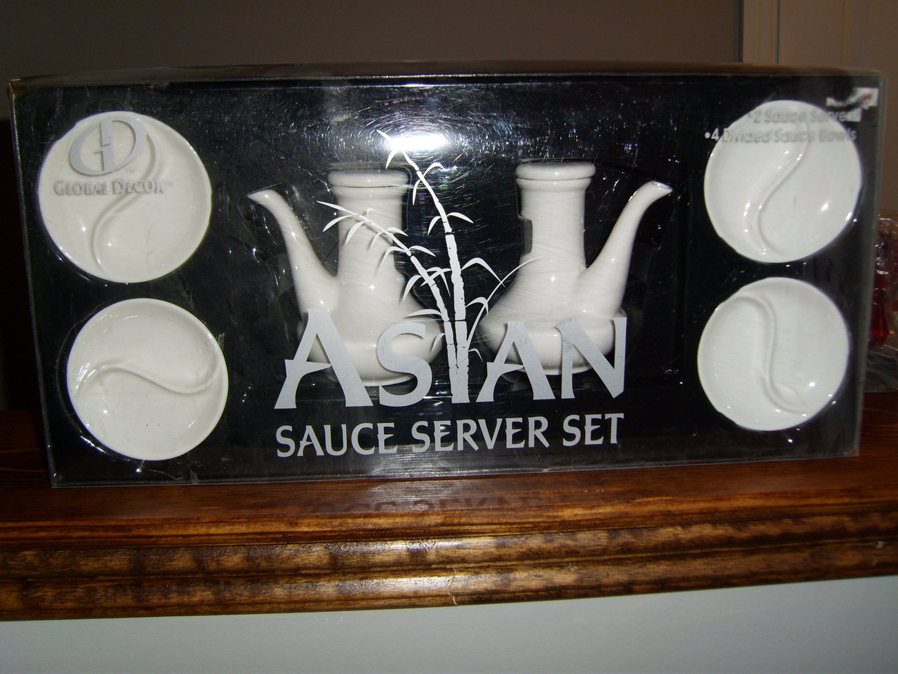 Global Decor asian sauce server set in white new in box