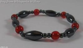 Red Round Beads and Magnetic Hematite Stylish Bracelet - $7.95