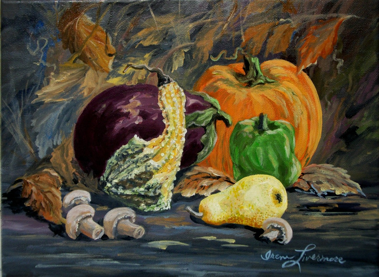 Eggplant Pumpkin Gourd Pear Vegetable Still Life Realistic Original Oil Painting
