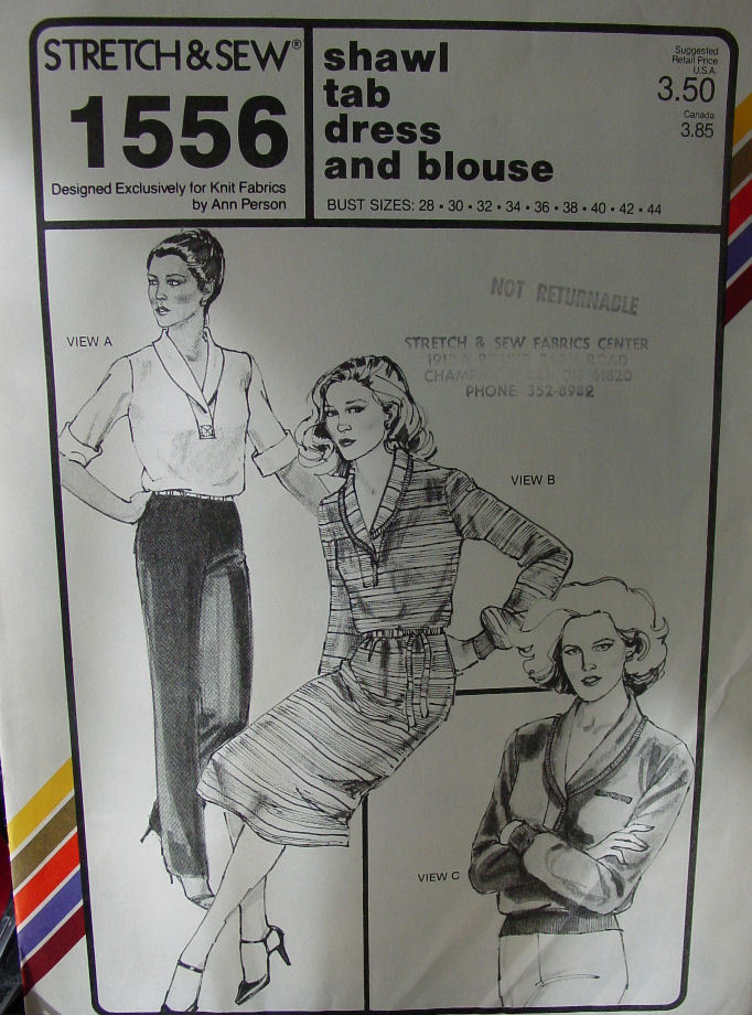 "Pattern: Stretch & Sew Shawl Tab Dress & Blouse 28-44"" Bust"