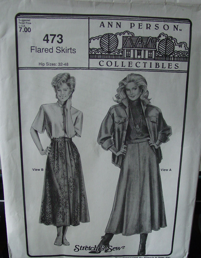 "Pattern:Stretch & Sew Flared Skirts 32""-48"" Hip"